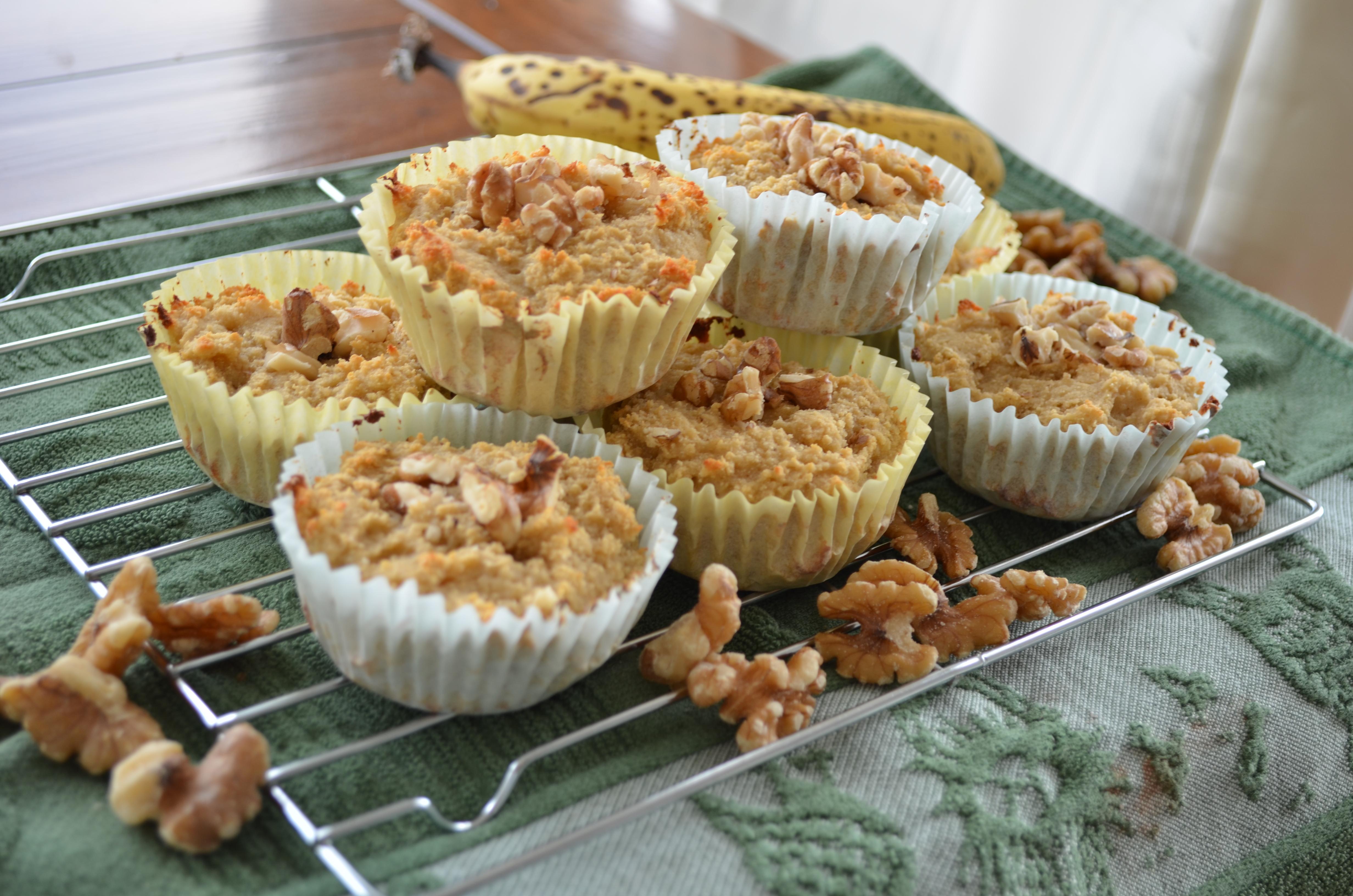 Banana nut protein muffins